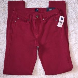 NWT GAP Sz 24R red stretch mid rise skinny jeans